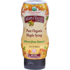 Maple Valley – 12oz Squeeze Bottle – Dark Robust (formerly Grade B) Organic Maple Syrup-BPA Free