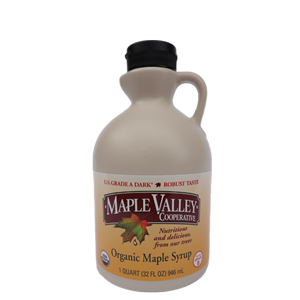 Maple Valley – Grade A Dark Robust (formerly Grade B) Organic Maple Syrup – (32 oz) Quart