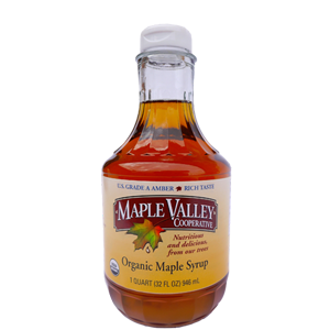 Maple Valley – Grade A Amber Rich Organic Maple Syrup – 32oz Quart Decanter